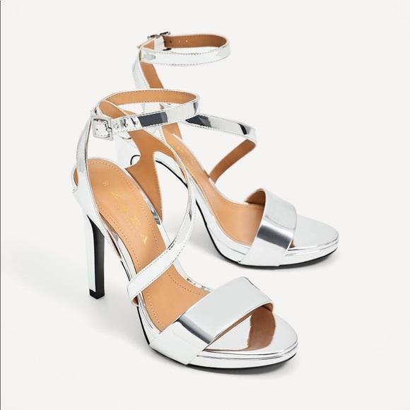 e2e56a499a1 Zara Silver High Heeled Sandals. M 5ade65b33800c54aebb50035